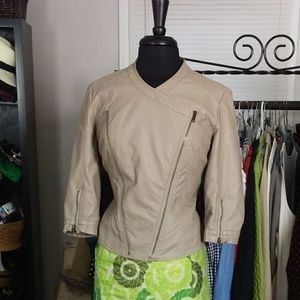 Beige Faux Leather Moto Jacket
